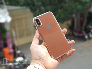 Ốp cứng trong suốt viền xi hiệu Baseus GLITTER Case iPhone X